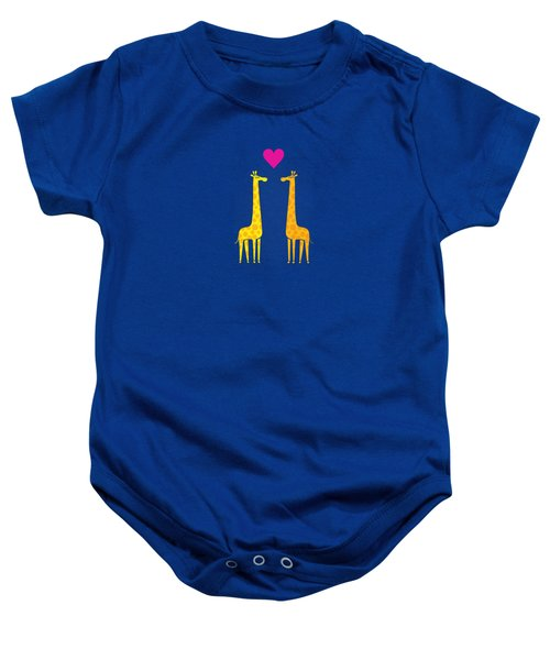 Cute Cartoon Giraffe Couple In Love Purple Edition Baby Onesie by Philipp Rietz