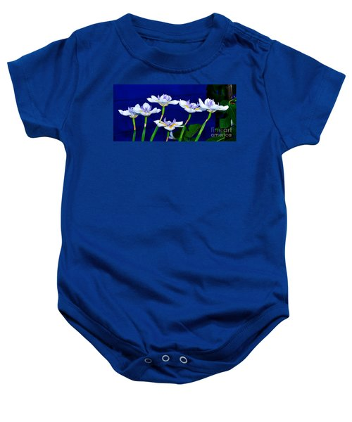 Dainty White Irises All In A Row Baby Onesie