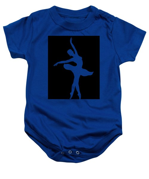 Dancing Ballerina White Silhouette Baby Onesie