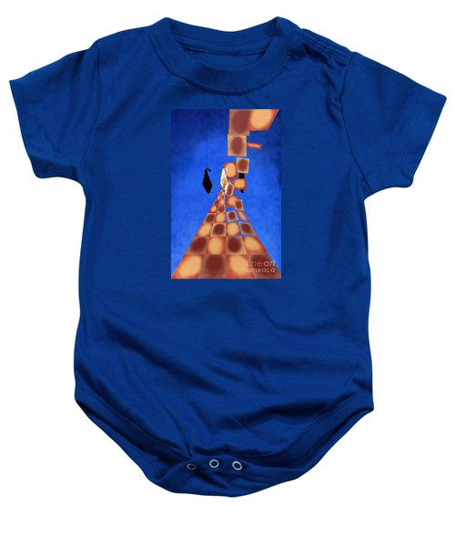 Disrupted Egg Path On Blue Baby Onesie