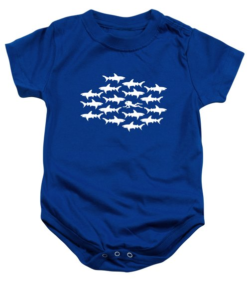 Diver Swimming With Sharks Baby Onesie by Antique Images