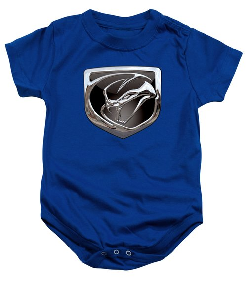 Dodge Viper 3 D  Badge Special Edition On Blue Baby Onesie by Serge Averbukh