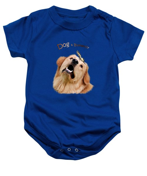 Dog And Butterfly Baby Onesie by Christina Rollo