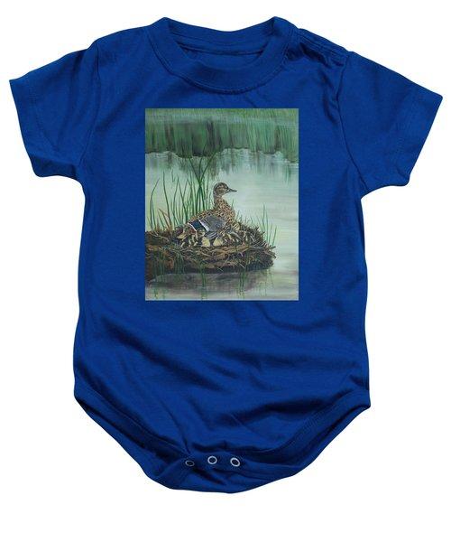 Ducks In Lifting Fog Baby Onesie