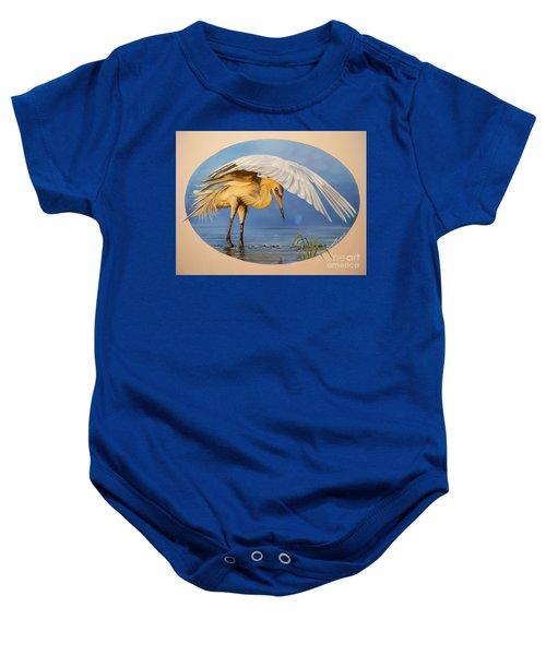 Chloe The  Flying Lamb Productions                  Egret Fishing Baby Onesie