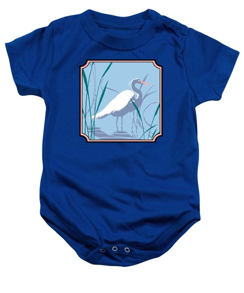 Egret Tropical Abstract - Square Format Baby Onesie by Walt Curlee