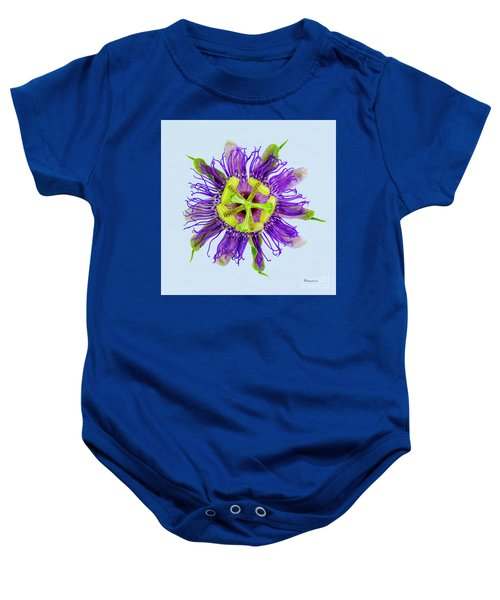 Expressive Yellow Green And Violet Passion Flower 50674b Baby Onesie