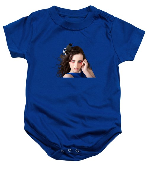 Baby Onesie featuring the photograph Face Of A Female Beauty With Red Eye Make Up by Jorgo Photography - Wall Art Gallery