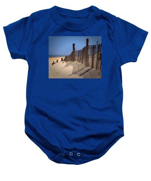 Fenwick Dune Fence And Shadows Baby Onesie