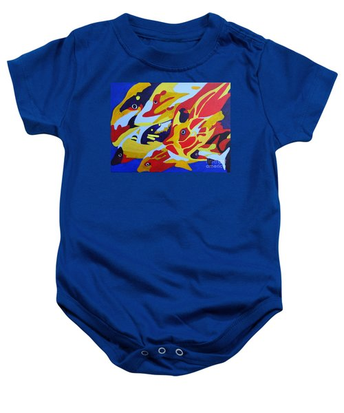 Fish Shoal Abstract 2 Baby Onesie