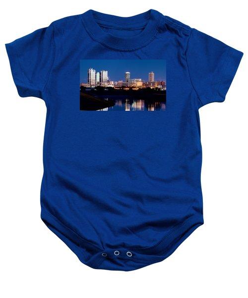 Fort Worth Skyline At Night Poster Baby Onesie