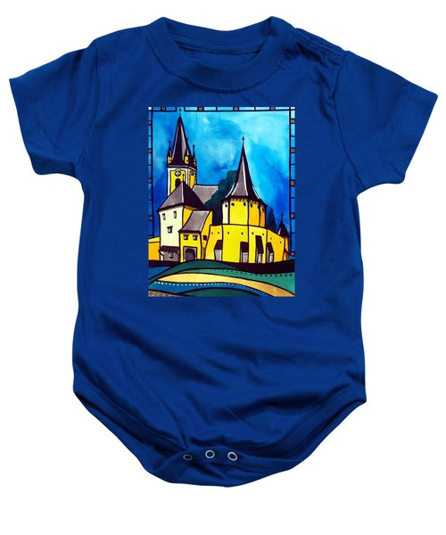 Baby Onesie featuring the painting Fortified Medieval Church In Transylvania By Dora Hathazi Mendes by Dora Hathazi Mendes