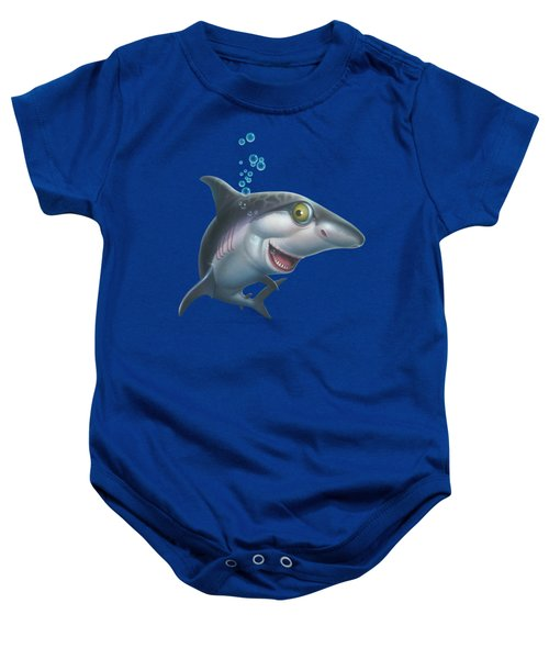 friendly Shark Cartoony cartoon under sea ocean underwater scene art print blue grey  Baby Onesie by Walt Curlee