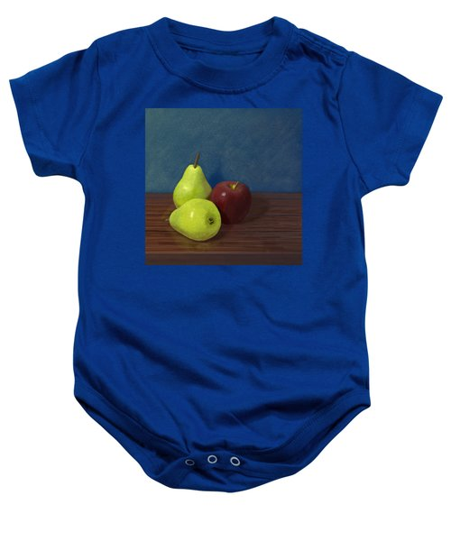 Fruit On A Table Baby Onesie by Jacqueline Barden