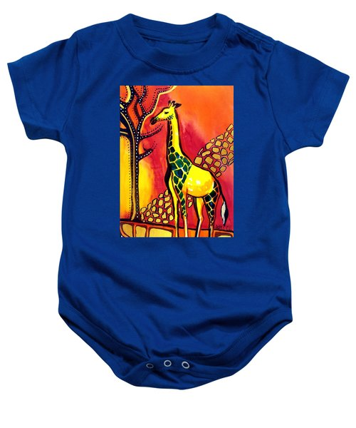 Baby Onesie featuring the painting Giraffe With Fire  by Dora Hathazi Mendes