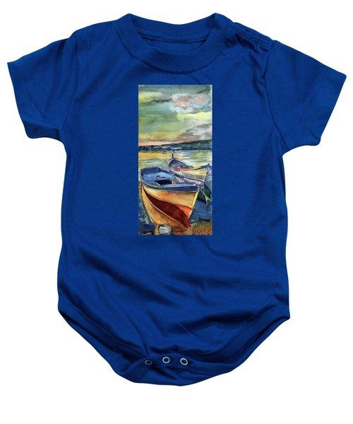 Golden Boats Baby Onesie