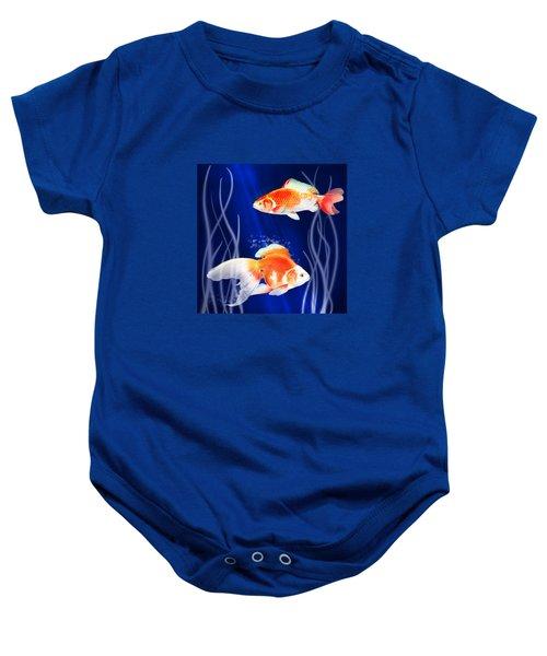 Goldfish Aglow Baby Onesie by Little Bunny Sunshine