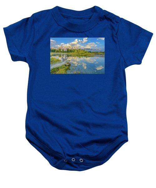 Grand Teton Riverside Morning Reflection Baby Onesie