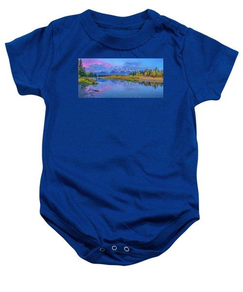 Grand Teton Sunrise Panoramic Baby Onesie
