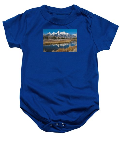 Baby Onesie featuring the photograph Grand Tetons by Gary Lengyel