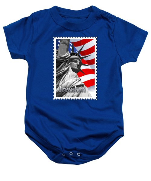 Graphic Statue Of Liberty With American Flag Text Freedom Baby Onesie