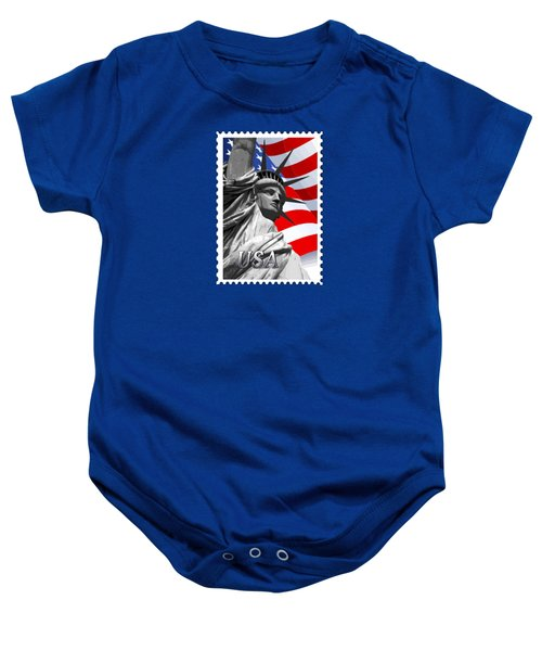 Graphic Statue Of Liberty With American Flag Text Usa Baby Onesie by Elaine Plesser