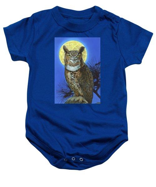 Great Horned Owl 2 Baby Onesie