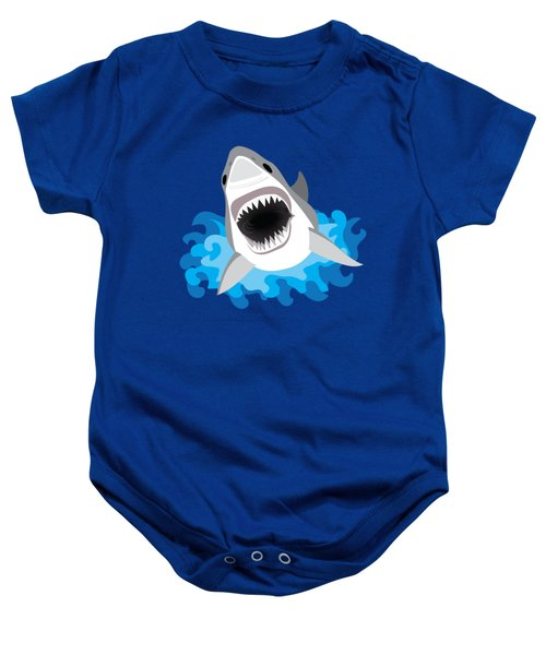 Great White Shark Leaps From Waves Baby Onesie by Antique Images