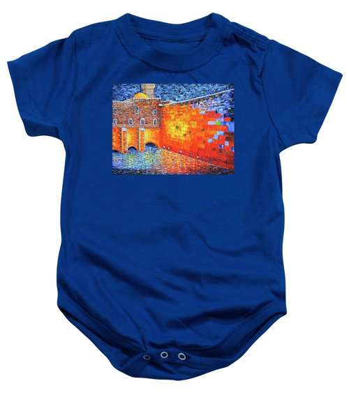 Baby Onesie featuring the painting Wailing Wall Greatness In The Evening Jerusalem Palette Knife Painting by Georgeta Blanaru