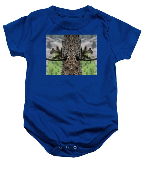 Grey Squirrels On The Look Out Baby Onesie