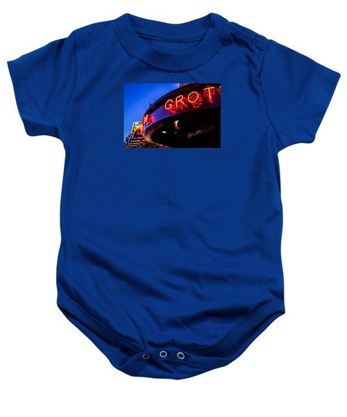 Baby Onesie featuring the photograph Grotto - Night View by Lora Lee Chapman