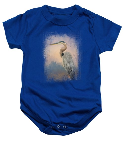 Heron On The Rocks Baby Onesie by Jai Johnson