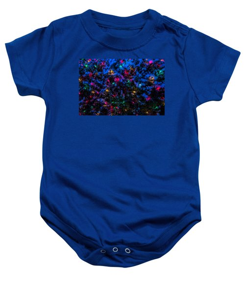 Holiday Lights In Snow Baby Onesie