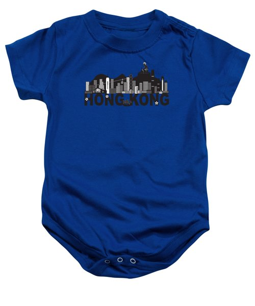 Hong Kong Skyline Buddha Statue Text Black And White Illustration Baby Onesie
