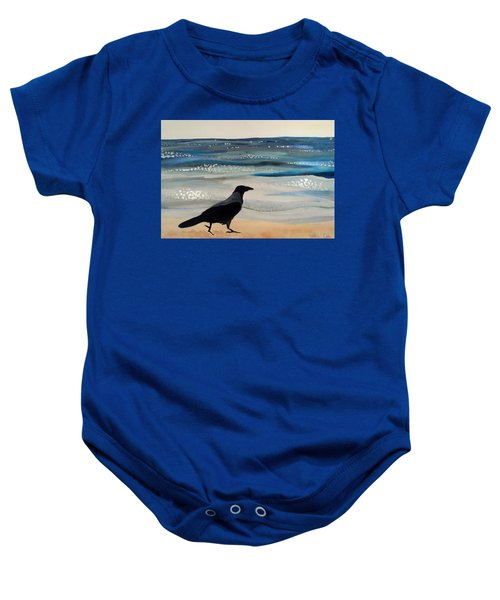 Hooded Crow At The Black Sea By Dora Hathazi Mendes Baby Onesie