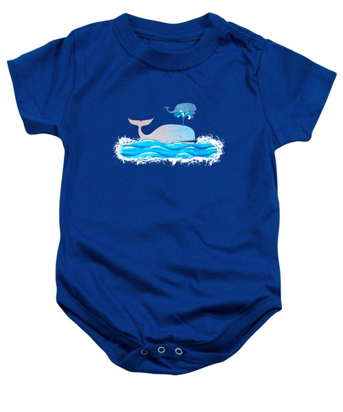 How Whales Have Fun Baby Onesie by Shawna Rowe