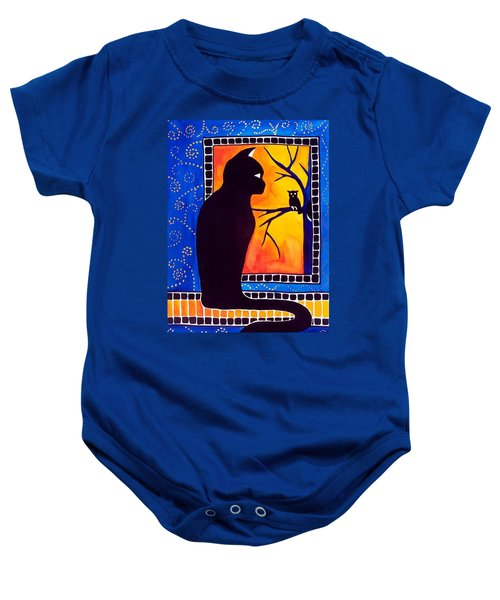Baby Onesie featuring the painting Insomnia - Cat And Owl Art By Dora Hathazi Mendes by Dora Hathazi Mendes