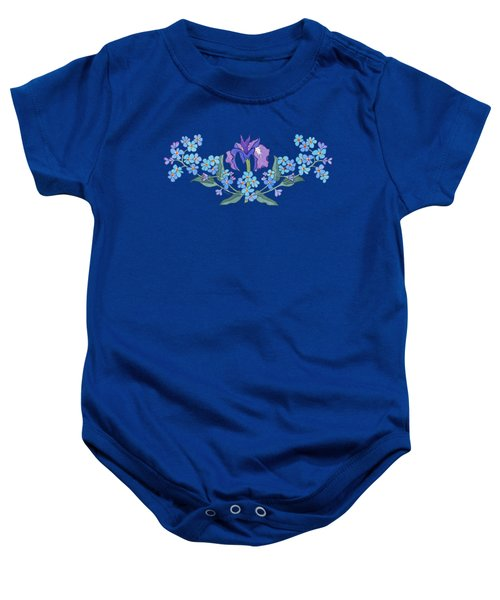Iris And Forget Me Not Curved Garland Baby Onesie