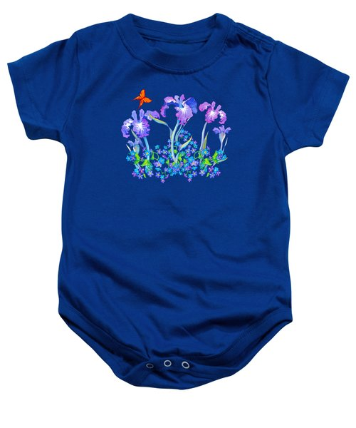 Iris Bouquet With Forget Me Nots Baby Onesie by Teresa Ascone