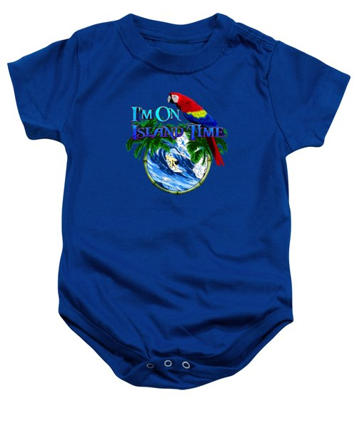 Island Time Surfing Baby Onesie by Chris MacDonald