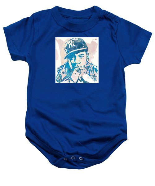 Jay-z  Etching Pop Art Poster Baby Onesie by Kim Wang