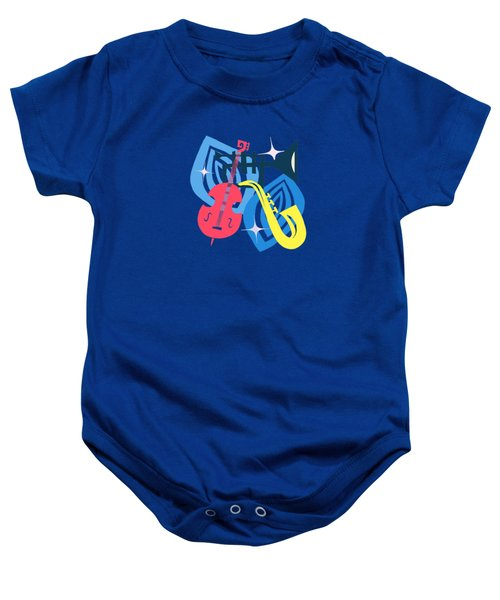 Jazz Composition With Bass, Saxophone And Trumpet Baby Onesie