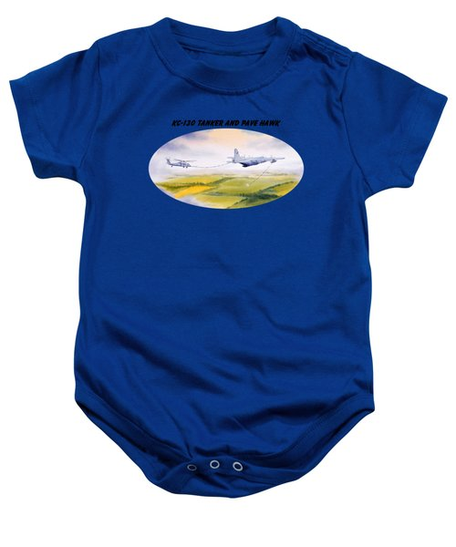 Kc-130 Tanker Aircraft And Pave Hawk With Banner Baby Onesie by Bill Holkham