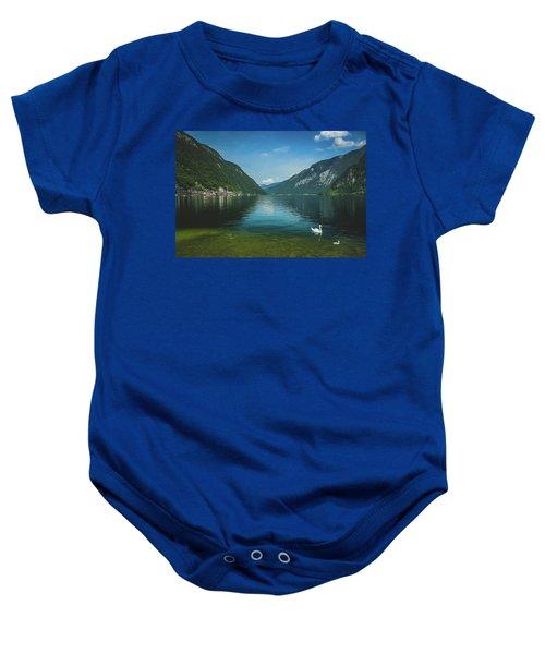 Lake Hallstatt Swans Baby Onesie