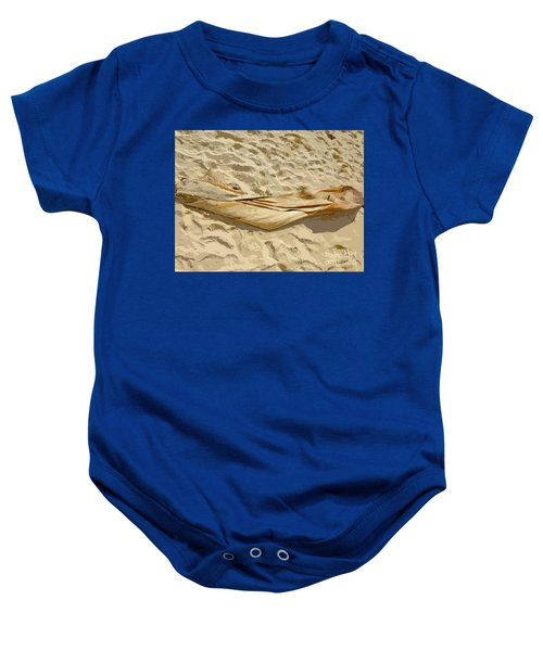 Baby Onesie featuring the digital art Leaf In The Sand by Francesca Mackenney