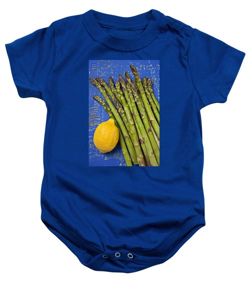 Lemon And Asparagus  Baby Onesie by Garry Gay
