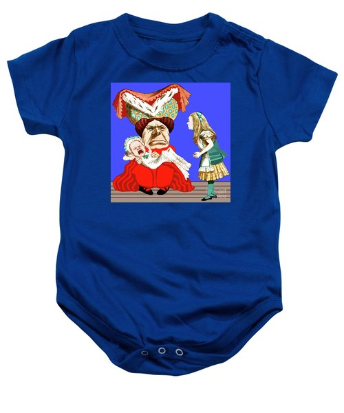 Lewis Carrolls Alice, Red Queen And Crying Infant Baby Onesie