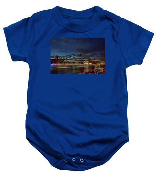 Light Trails On The Harbor By Kaye Menner Baby Onesie by Kaye Menner