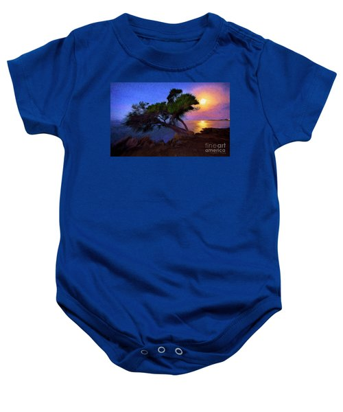 Lone Tree On Pacific Coast Highway At Moonset Baby Onesie