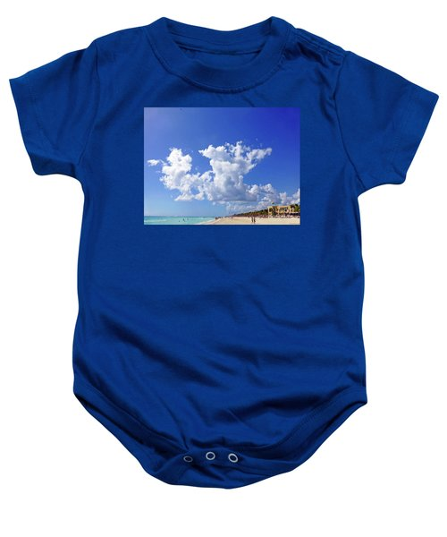 Baby Onesie featuring the digital art M Day At The Beach by Francesca Mackenney